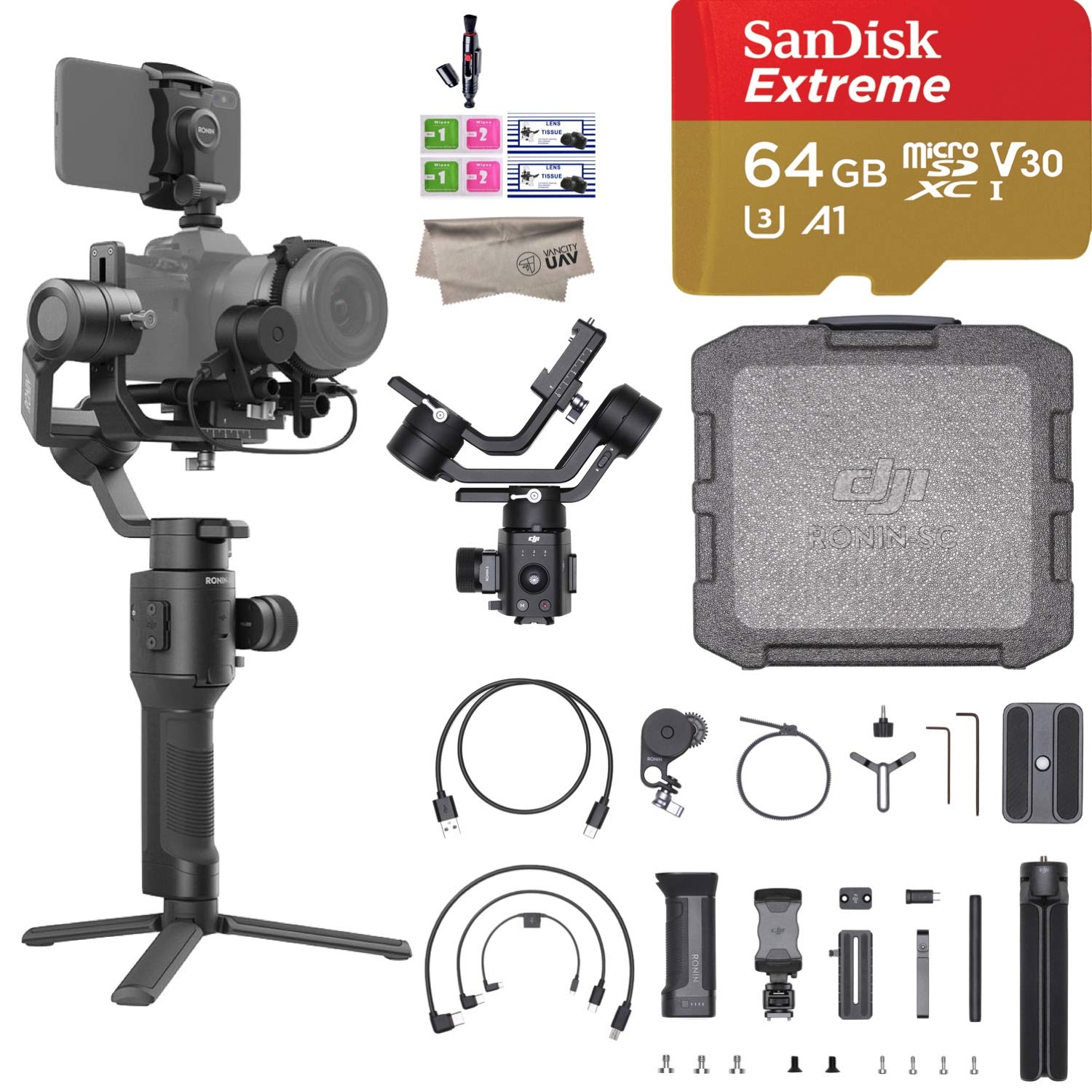 2019 DJI Ronin SC Pro Combo 3-Axis Gimbal Stabilizer for Mirrorless Cameras, Comes Focus Wheel, Focus Motor, Tripod, Phone Holder, and DJI Carrying Case, Up to 4.4lb Payload, 1 Year Limited Warranty by DJI