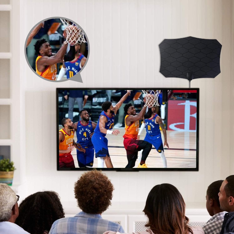 Antena TV Interior, Antena de TV Digital HD para Interiores, Antena de HDTV Digital de Alcance de 120 Millas con Amplificador de Señal para Canales de ...