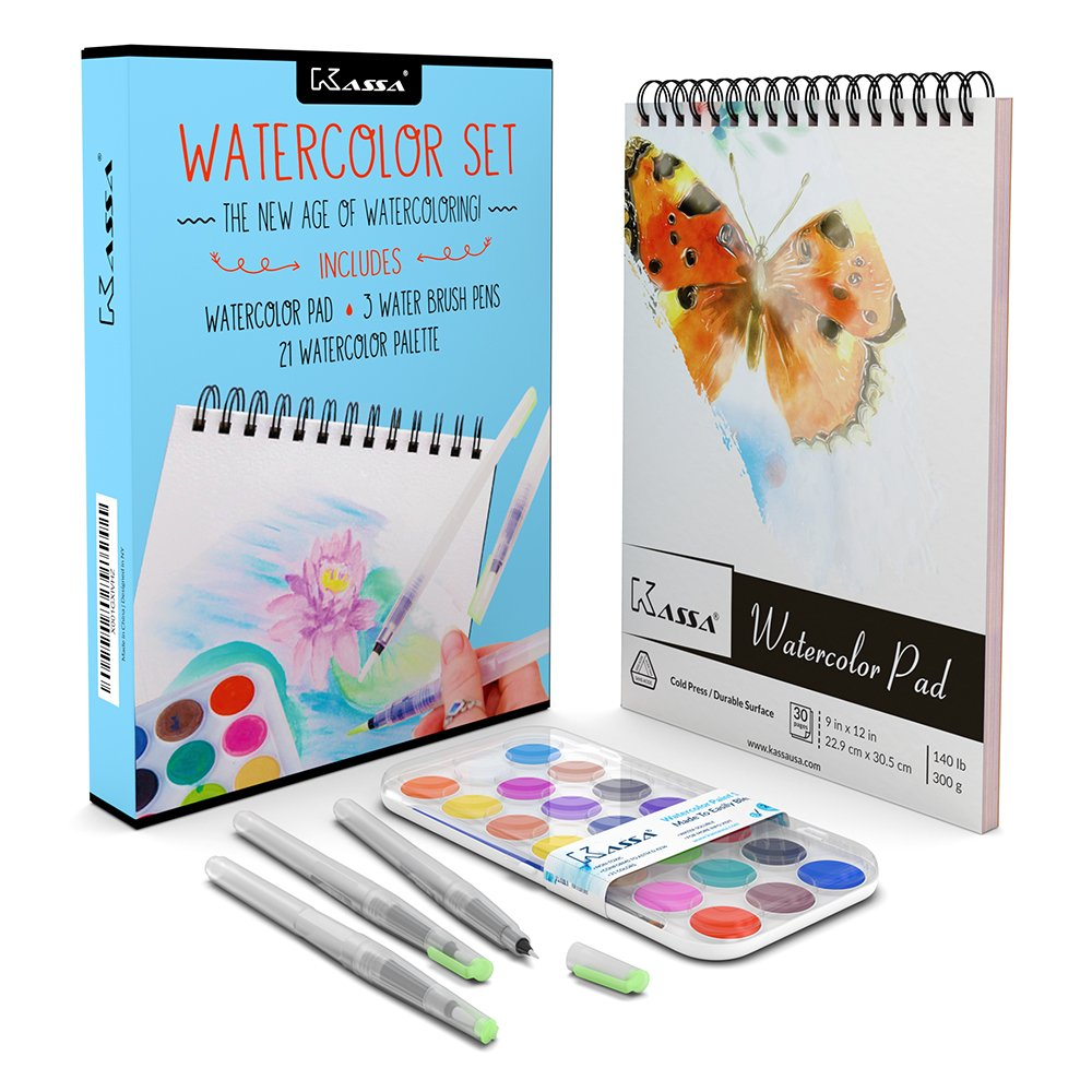 Kassa Watercolor Set - Includes Water Brush Pens (3 Assorted Sizes), Painting Pad (30 Sheets) & Paint Pan (21 Watercolors) - Watercoloring Art Supplies Kit for Beginners & Artists KWS003