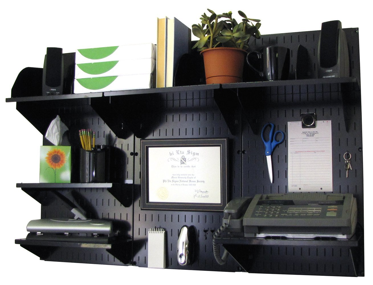 Wall Control Office Organizer Unit Wall Mounted Office Desk Storage and Organization Kit Black Wall Panels and Black Accessories by Wall Control