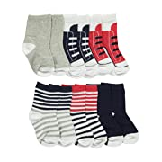 Luvable Friends Baby Boys'  Striped & Laced  6-Pack Crew Socks - white/multi, 6
