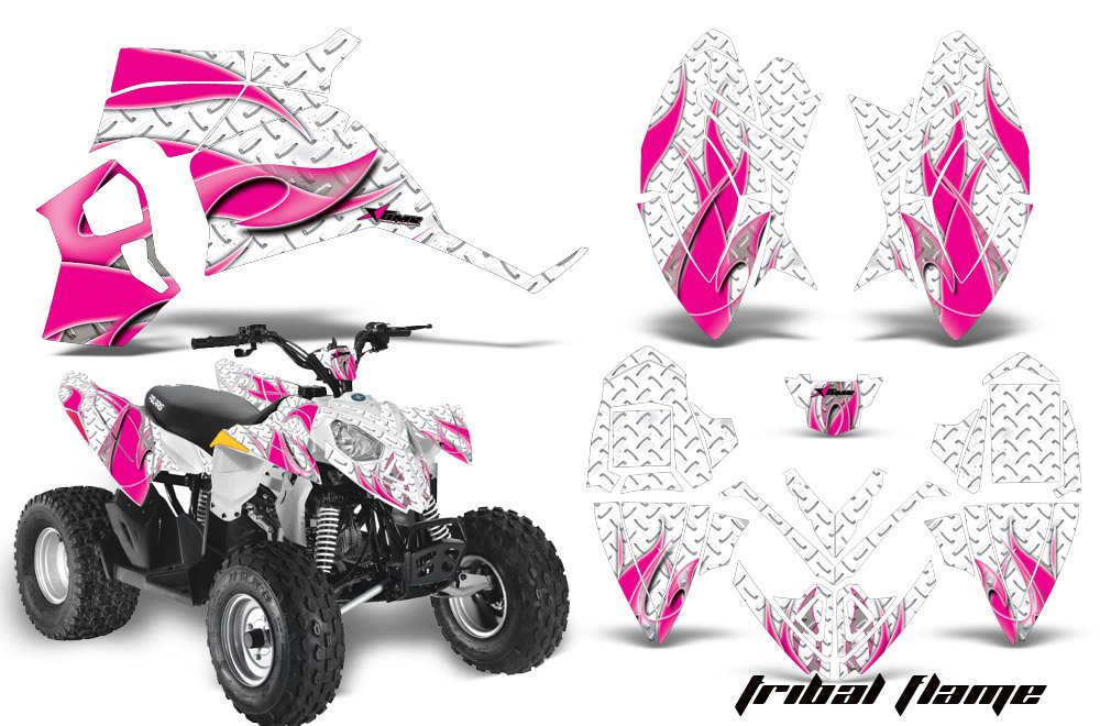 Tribal Flames Pink White AMRRACING Polaris Outlaw 90 All Years Full Custom ATV Graphics Decal Kit