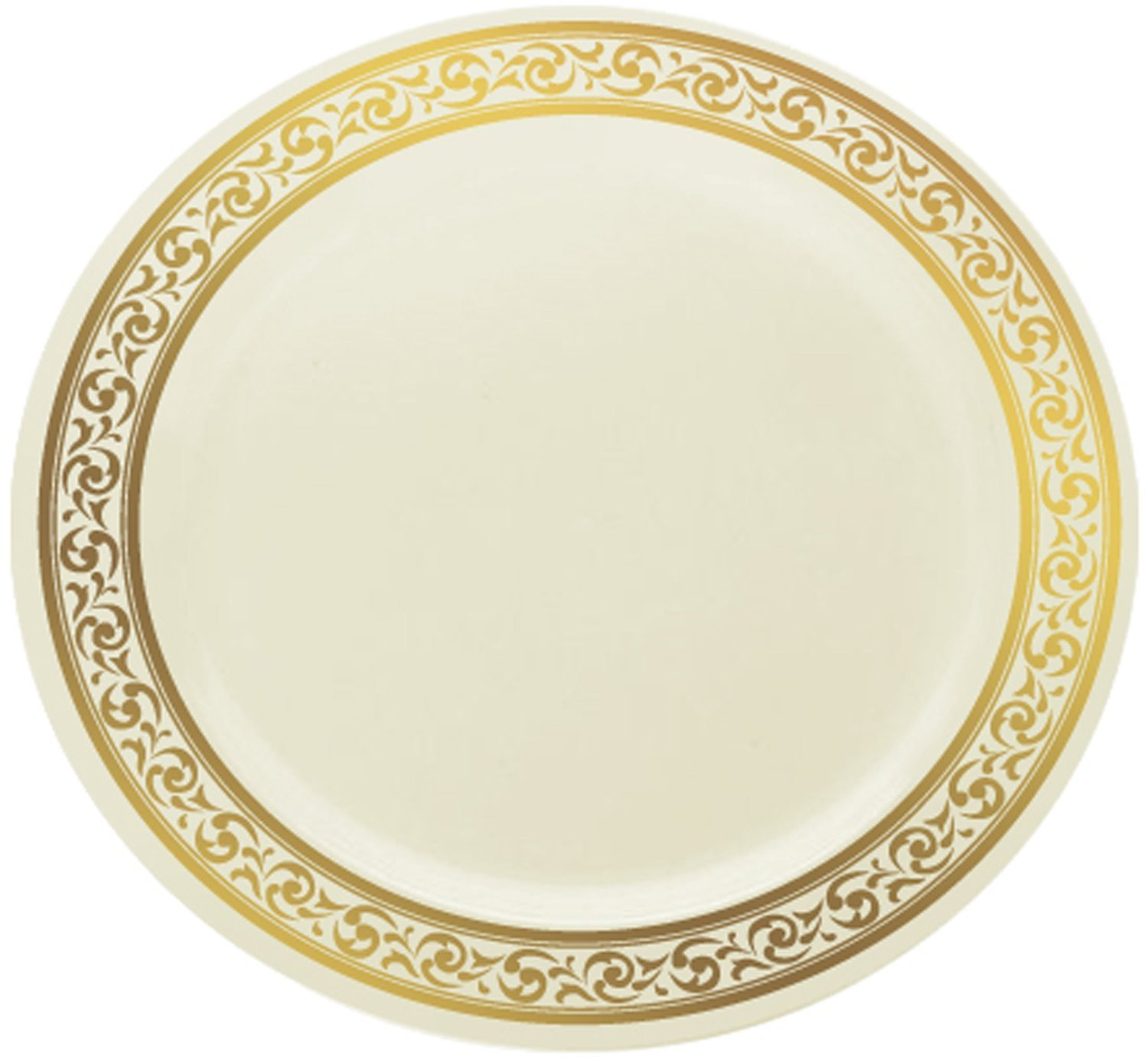 Amazon.com | Decor Cream with Gold Rim 10.25  Heavyweight Plastic Dinner Plates 10 Count Dinner Plates  sc 1 st  Amazon.com & Amazon.com | Decor Cream with Gold Rim 10.25