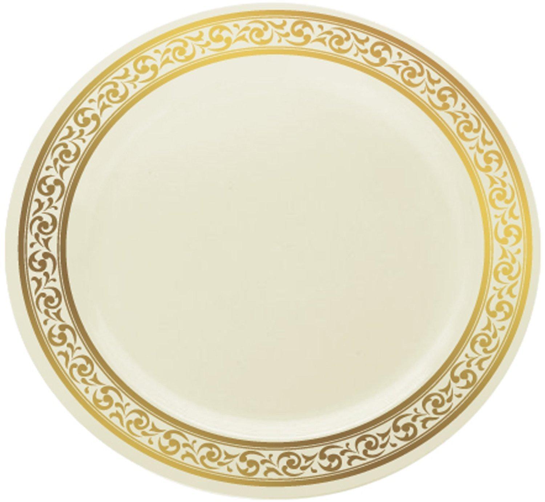 Amazon.com | Decor Cream with Gold Rim 10.25\  Heavyweight Plastic Dinner Plates 10 Count Dinner Plates  sc 1 st  Amazon.com & Amazon.com | Decor Cream with Gold Rim 10.25\