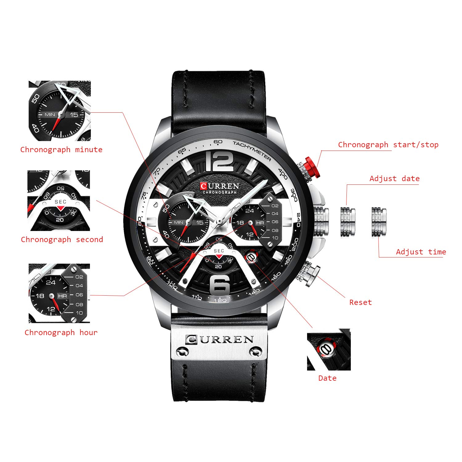 Men s Sport Chronograph Wristwatch Military Casual Waterproof Leather Watch for Men with Date Display