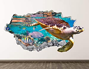 "West Mountain Turtle Wall Decal Art Decor 3D Smashed Kids Ocean Sticker Mural Home Gift BL07 (30"" W x18 H)"