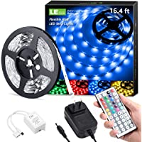LE LED Strip Lights Kit, 16.4ft Dimmable RGB LED Light Strips, Color Changing Light Strip with Remote Control, 12V Power…