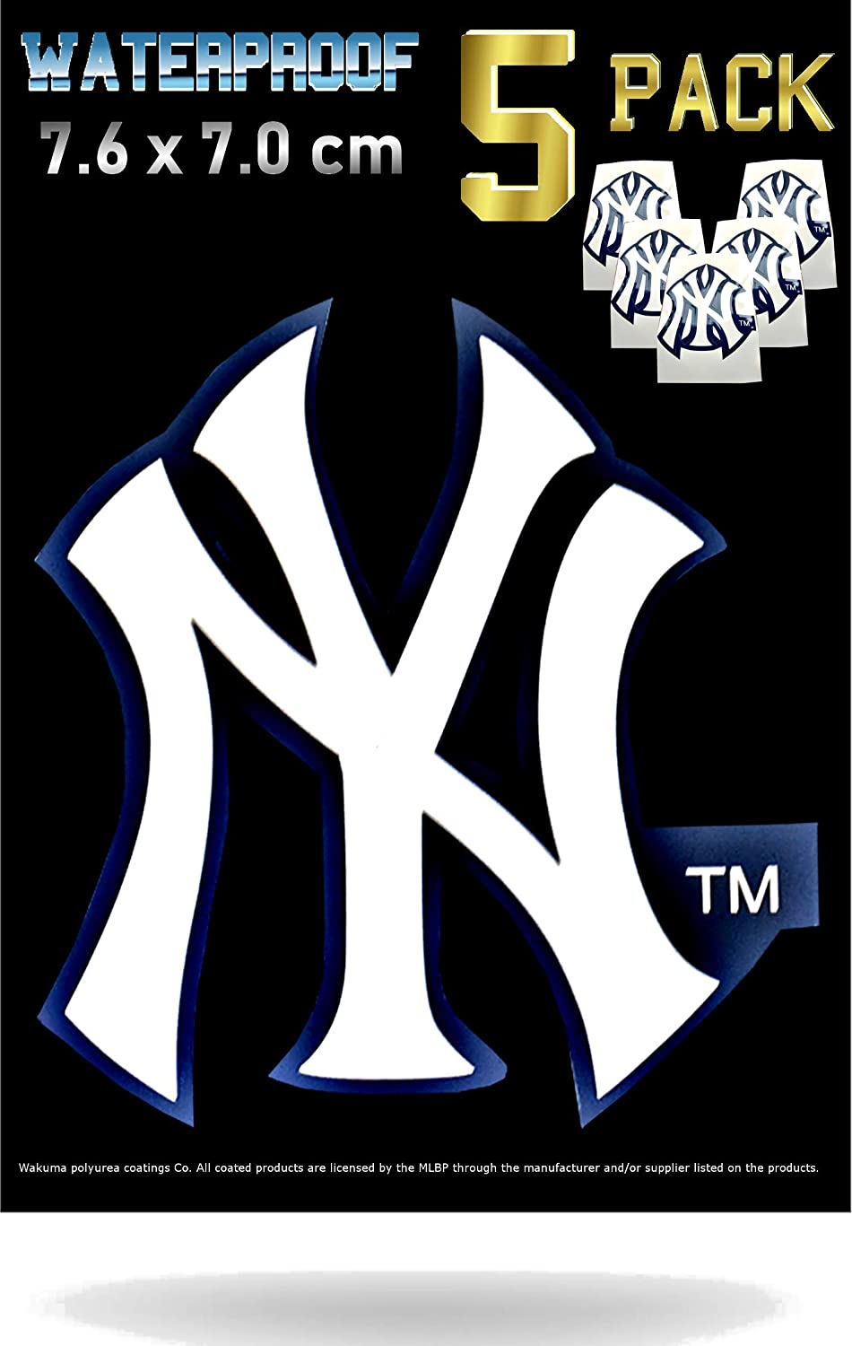 New York Yankees Car Decal Stickers Pack | Waterproof Glossy Finish |Thick  NY Emblem Logo Sticker|
