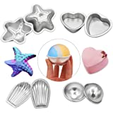 MelonBoat Metal Bath Bomb Molds Fizzies Set of 4, 2 Shell Shape, 2 Hemispheres, 2 Heart Shape, 2 Starfish Shape, Cake Pan Molds, Aluminum