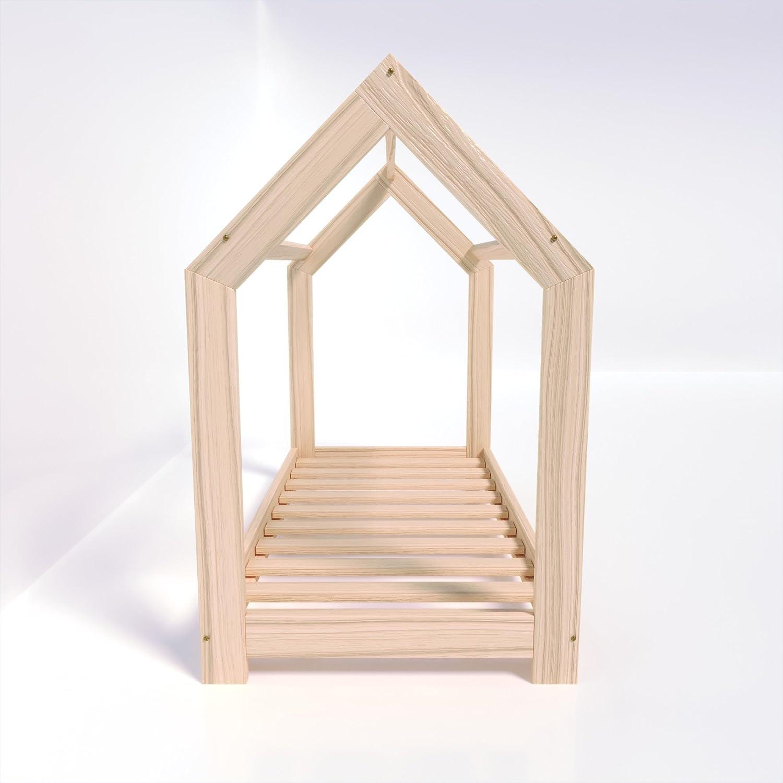 MSS Kinder Hausbett 140 x 70 cm Kiefer aus Holz Spielbett inkl ...