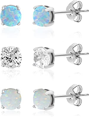 925 Sterling Silver Rhodium-plated Blue Created-Opal Post Earrings