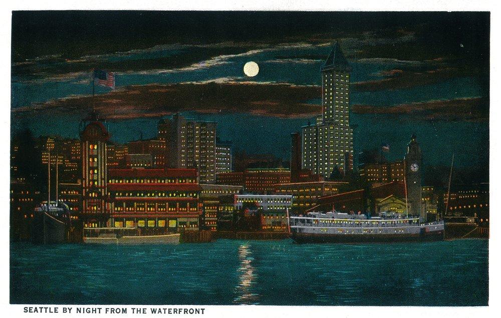 Seattle Waterfront at night 24 x 36 Giclee Print LANT-1161-24x36 B017ZIV6LG  24 x 36 Giclee Print