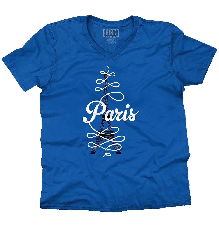 Paris Script Eiffel Tower French France Parisian Fashion Gifts V-Neck T-Shirt