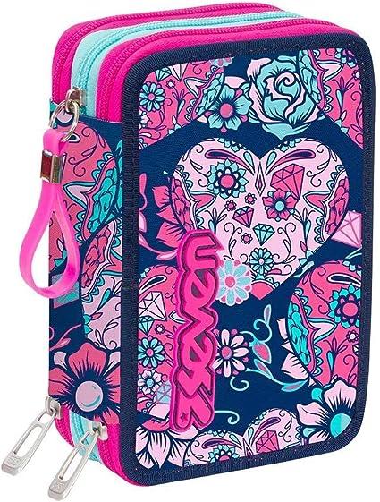 Estuche escolar completo con 3 cremalleras Seven Sugarskull azul y rosa: Amazon.es: Oficina y papelería