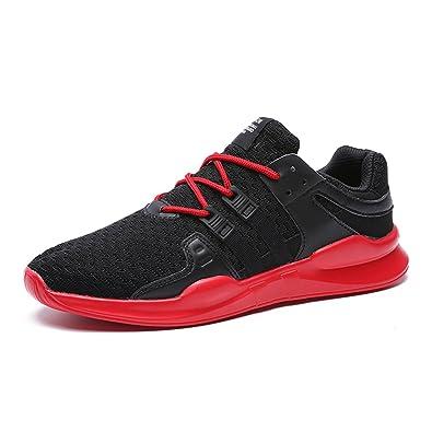 bc13c0150e0b0f IceUnicorn Herren Laufschuhe Sneakers Turnschuhe Freizeit Schnürer Gym  Atmungsaktiv Sportschuhe(Schwarz Rot