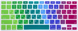 HRH Russian Silicone Keyboard Cover Skin for MacBook Air 13,MacBook Pro 13/15/17 (with or w/Out Retina Display, 2015 or Older Version)&Older iMac USA Layout Keyboard Protector-Rainbow