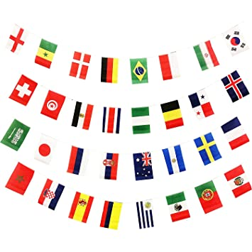 Banderines de la Copa Mundial Flyglobal - Copa Mundial de la FIFA 2018 32 naciones pequeños