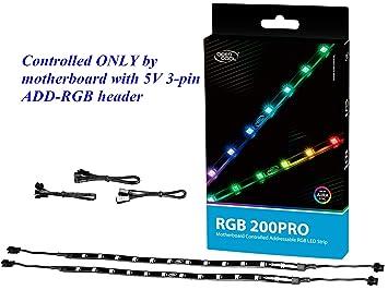 hot sale online 1b1ac 5fa65 DEEP COOL RGB 200PRO Addressable RGB LED Strip, SYNC Controlled via 5V  3-pin ADD-RGB Header on Motherboard, SYNC with Other 5V ADD-RGB Devices