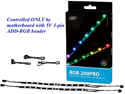 DEEPCOOL RGB 200PRO Addressable RGB LED Strip, SYNC Controlled via 5V 3-pin  ADD-RGB Header on Motherboard, SYNC with Other 5V ADD-RGB Devices