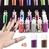 Fameza 12  Bottles Glass 3D Nail Art Set Decoration Tool Glitter Powder Rhinestone Sequins - Mixed Colors