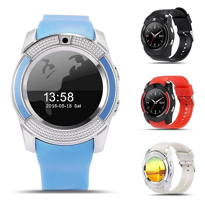 FAVOLOOK V8 - Reloj inteligente con Bluetooth, pulsera deportiva SIM GSM para Android, reloj de salud, podómetro de fitness, 0.02, color gris: Amazon.es: ...