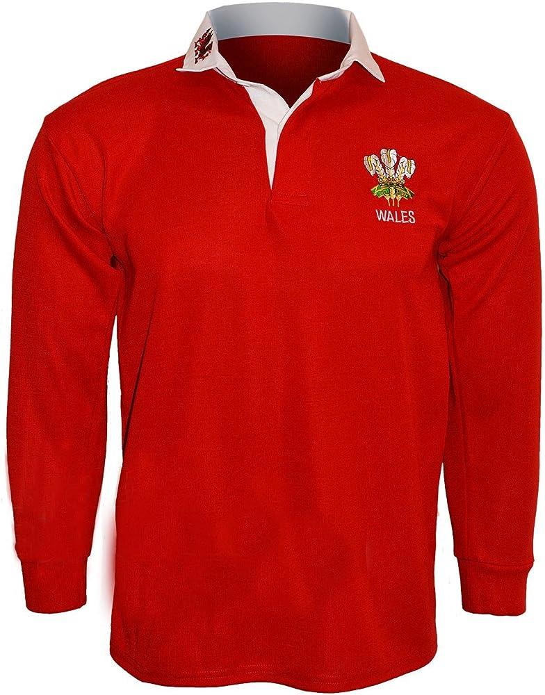 Camiseta polo Active Wear hombre, camiseta tipo rugby, manga larga, con emblema de Gales, tallas: S, M, L, XL, XXL, 3XL, 4XL, 5XL Rot - RED/WHITE COLOUR XL: Amazon.es: Ropa y accesorios