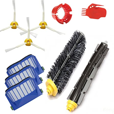Amyehouse Accessory Replacement Kit of Bristle /& Flexible Beater Brushes /& 3-Armed Side Brushes /& Aero Vac Filters for iRobot Roomba 600 Series 614 620 630 650 660 671 680 690 Vacuum Parts