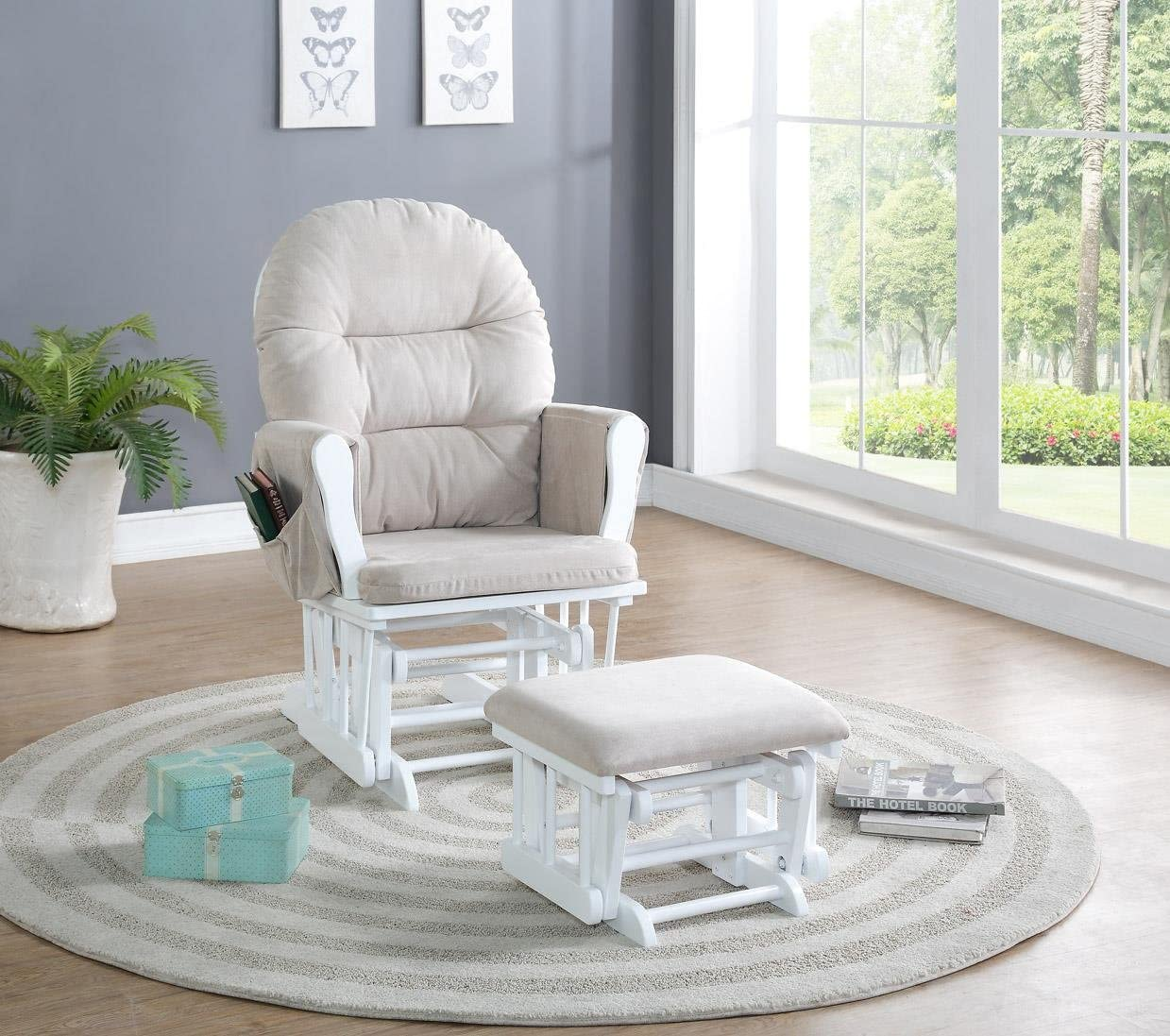 with Cushion in Cream and Finish in Espresso Naomi Home Brisbane Nursing maternity Glider Chair /& Ottoman Footstool Set