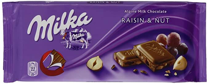 Milka Alpine Milk Chocolate Raisin And Nut 100 G Pack Of 20