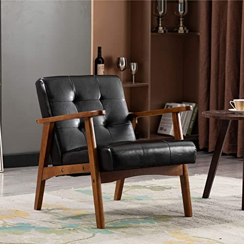 Artechworks Retro PU Leather Upholstered Lounge Wooden Arm Chair