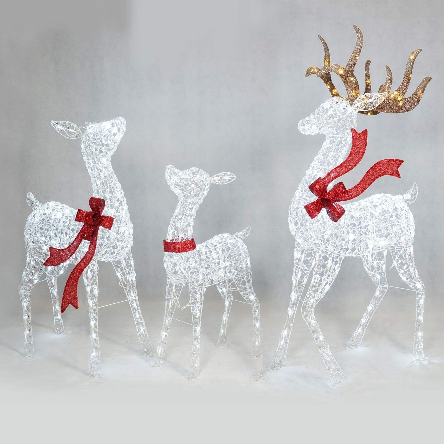Amazon.com : Set of 3 Crystal Ice LED Lighted Deer Display Outdoor ...