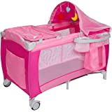 Kinbor Baby Nursery Center Playard Portable Nest Bassinet Bed Infant Kids Travel Playpen Pack Deluxe Double-Layer Beds Pocket Diapter Changer Toy Cribs Nursery Centers with Carry Bag