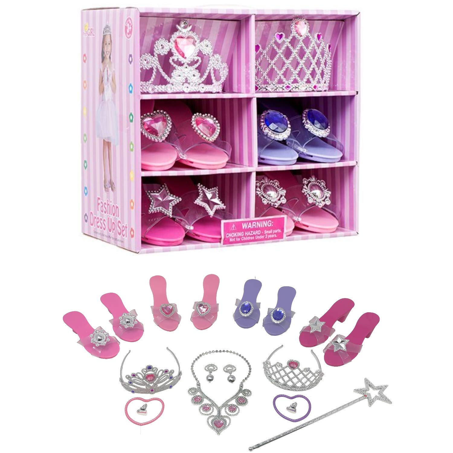 Royal Dreams Princess Shoes & Tiara Dress up Play . Includes 4 Princess Shoes for Girls 2 Tiaras Necklace Bracelets & Earrings! Perfect Little Girl Toys Role Play Playset by Royal Dreams