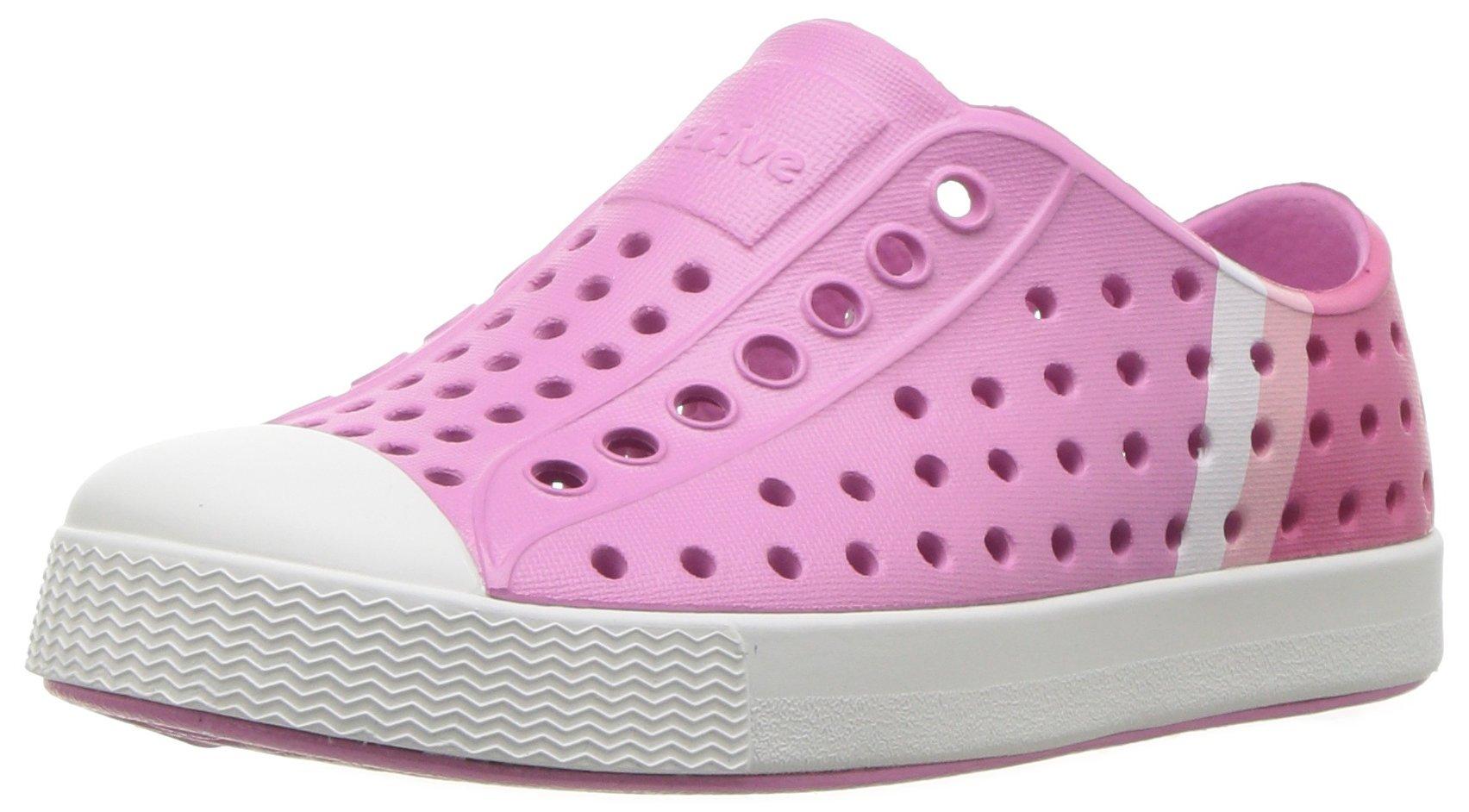 Native Kids' Jefferson Block Child Water Shoe, Malibu Pink/Shell White/Gradient Block Print, 6 Medium US Toddler