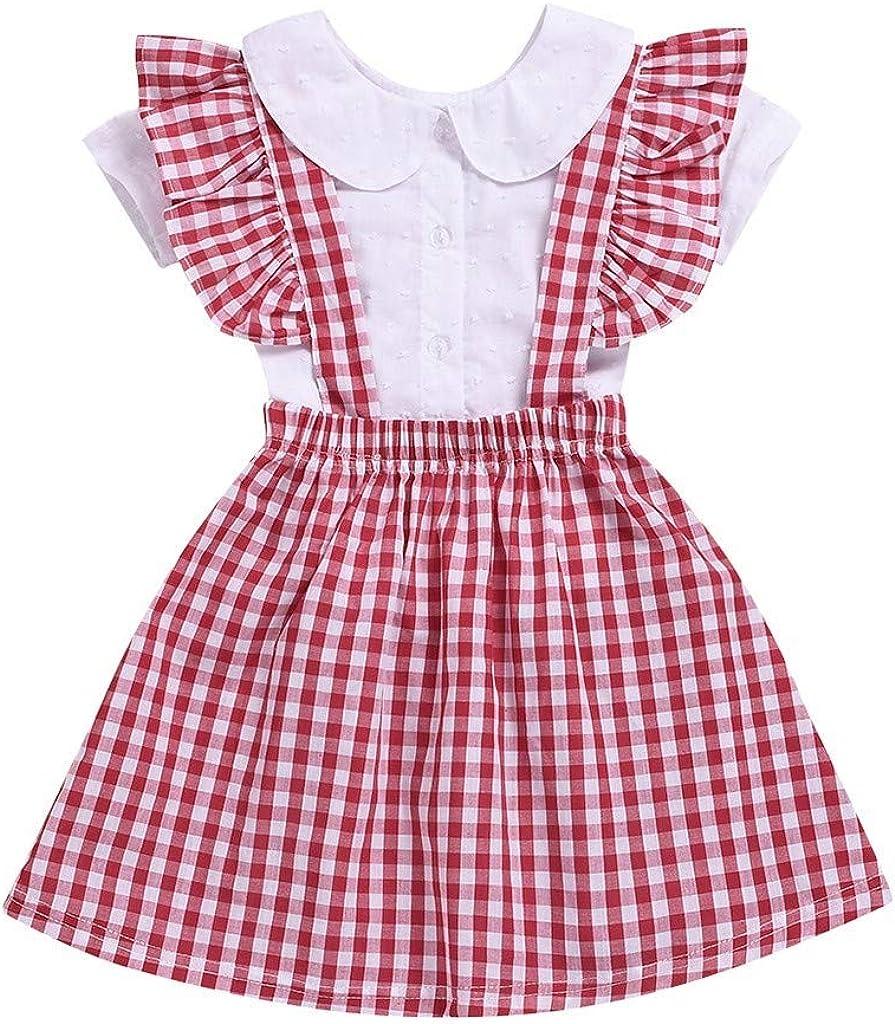 MOGOV Summer Toddler Baby Short Sleeve Ruffle Shirts Tops+Tutu Plaid Princess Suspender Skirt Set Outfit