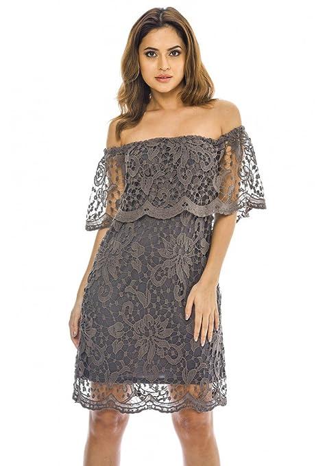 9413af6db8b9 AX Paris Women s Off Shoulder Lace Mini Dress at Amazon Women s Clothing  store