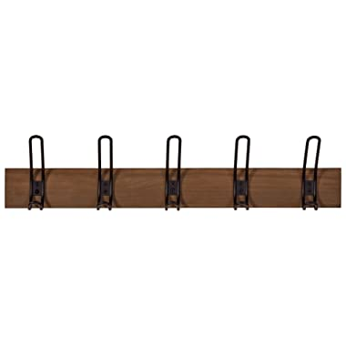 Stone & Beam Modern Wood Wall Hook, 3.8 H, Walnut and Black