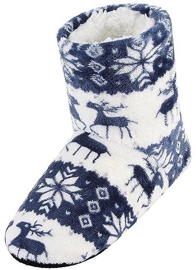 EOZY Calcetines de Invierno Zapatillas de Casa para mujeres Térmico Suave Azul
