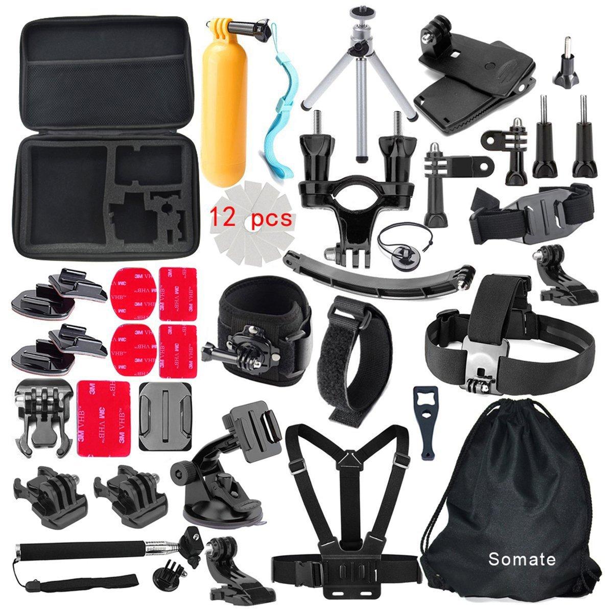 4K Action Camera Accessories Kit for Gopro Hero 5/4 Session Hero 3/2/1 Silver Black;Bundles for AKaso Ek7000; EKEN H9r Campark Wifi Underwater Cam; DBPower EX5000; SJCAM SJ4000 SJ5000 SJ6000