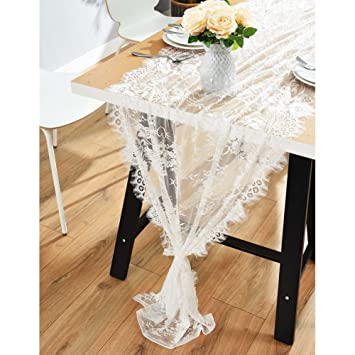 Ourwarm 28 X 120 Inches Vintage Lace Wedding Table Runner White Floral Lace Table Runners For Rustic Chic Wedding Reception Table Decor Boho Wedding