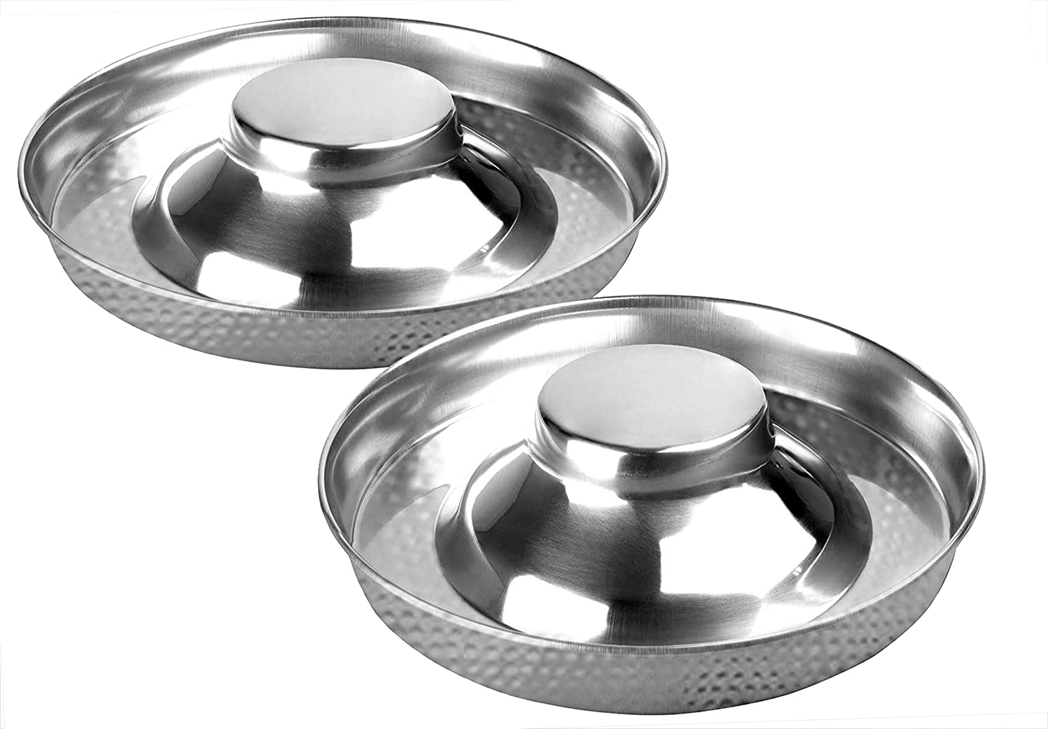 King International Stainless Steel Hammered Dog Bowl 2 Puppy Litter Food Feeding Weaning Silver Stainless Dog Bowl Dish Large Dogs, Pets Feeder Bowl and Water Bowl Perfect Choice