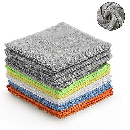 Un conjunto de 12 toallas 30x30cm limpiadoras con efecto completo, hechas de 6 materiales diferentes