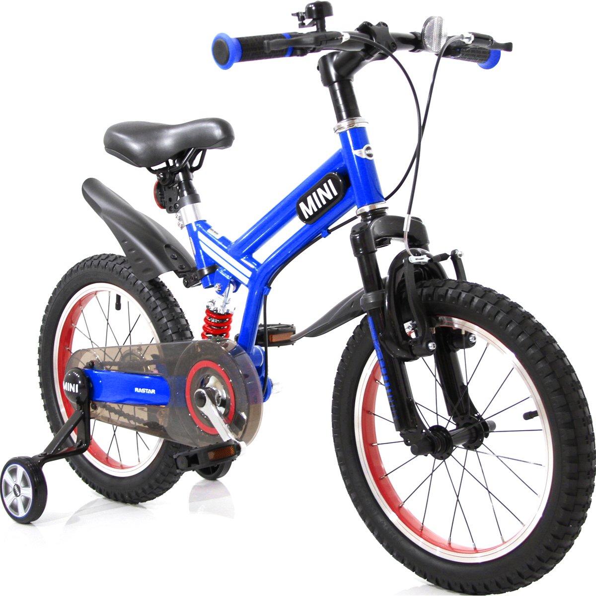 自転車 補助輪付き マウンテンバイク MINI ミニ KIDS BIKE 16インチ 練習用自転車 MTB 足けり自転車 B07D8NPFM7ブルー