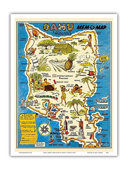 Amazon.com: Oahu, Hawaii Mem-O-Map - World War II Military Souvenir ...