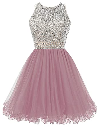 Dannifore Beaded Homecoming Dresses for Juniors Sequins Tulle Short Prom Dress Blush Size 2
