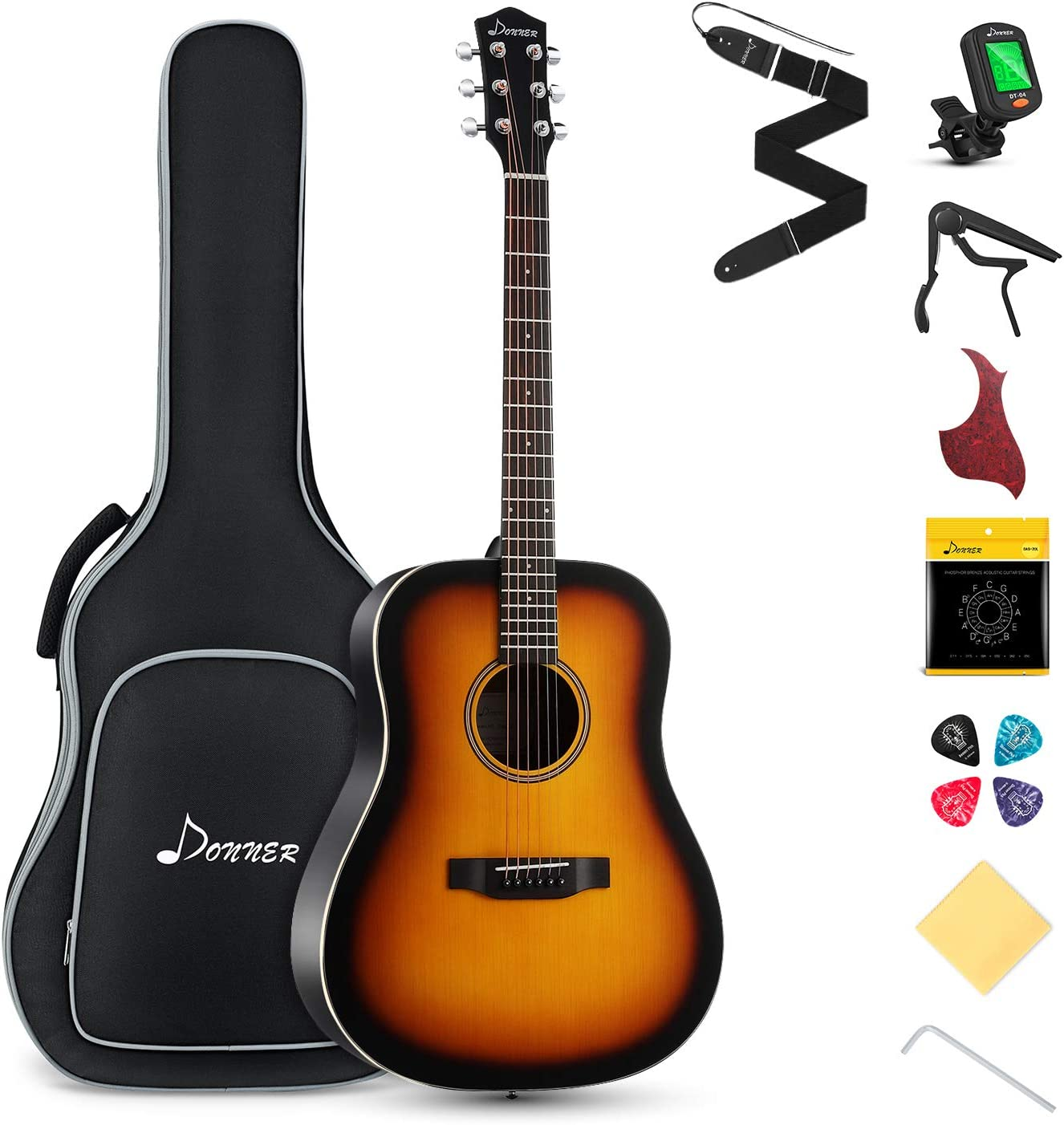Donner Guitarra Acústica Dreadnought con 41 Pulgadas Cuerpo de Caoba y Pícea con Set de Accesorios (Sunburst, DAG-1S)