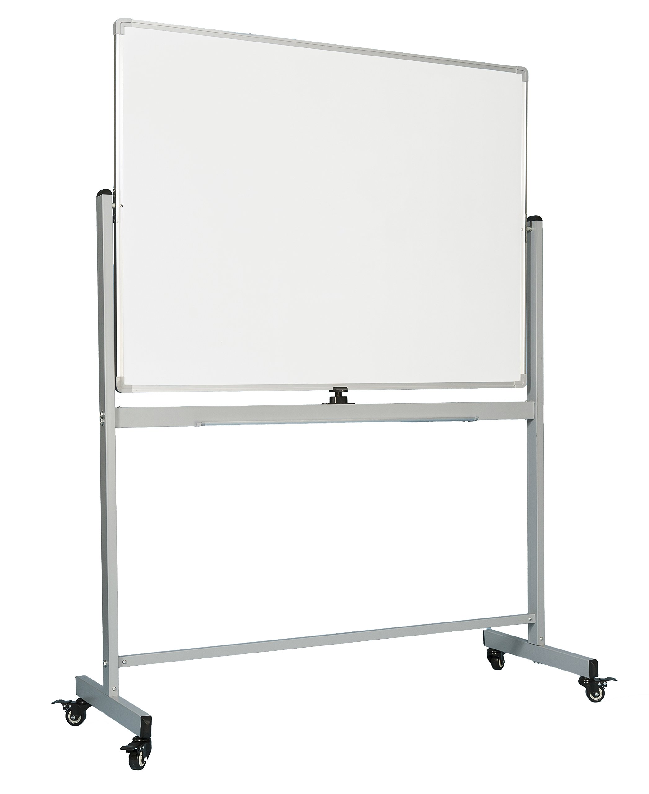 OfficeGenius Mobile Whiteboard on Wheels with Stand, 48x36 White Board, Magnetic Double Sided Dry Erase Marker Board w/Quick Flip Reversible Portable Standing Easel for Classrooms, Offices, Homeschool by OfficeGenius