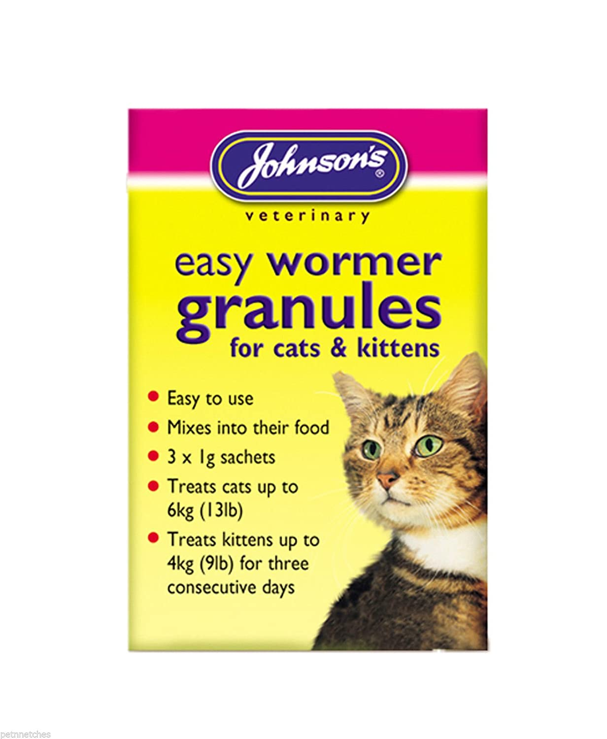 Johnson's Cat Kitten One Dose Wormer Tablet or Worming Granules Roundworm Tapeworm (One Dose Wormer) Johnson's