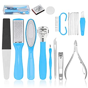 Pedicure Kit, Baban 17 in 1 Foot File Foot Scrubber Callus Remover Set with Nail Clippers, Professional Stainless Steel Home Pedicure Tools for Women, Exfoliating Prevent, Dead Skin Remove, Dry & Wet