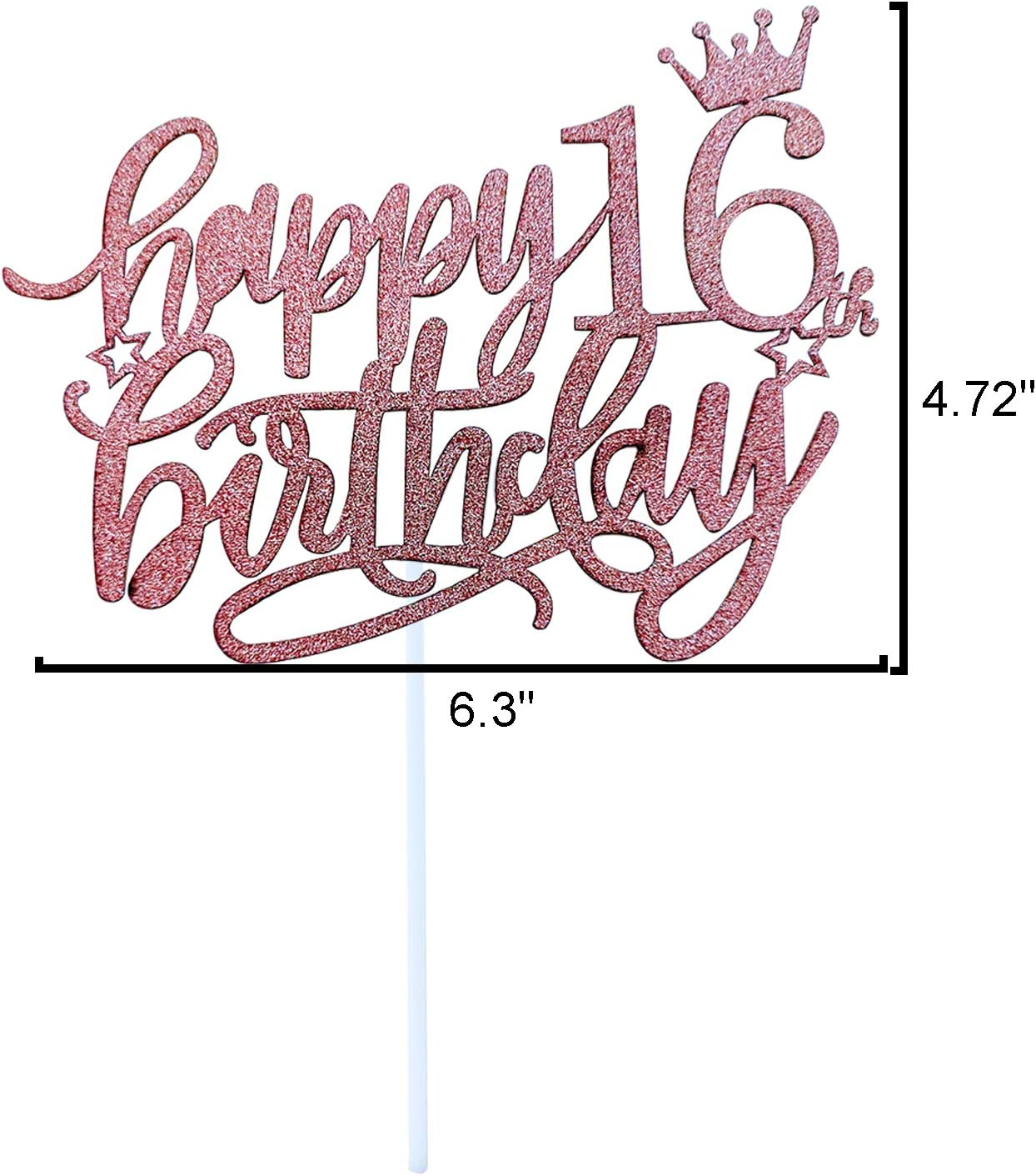 Glitter Happy Birthday 16th Cake Toppers Cake Treat Picks for 16th Birthday Party Supplies
